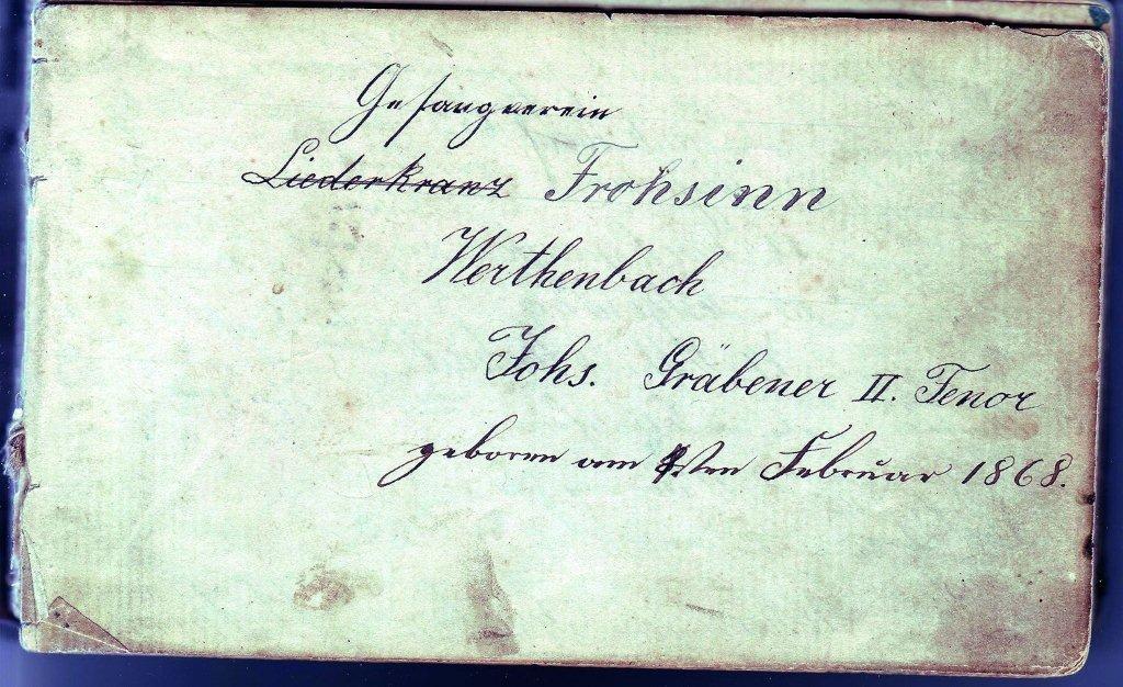 Liederbuch des Gesangvereins Liederkranz / Frohsinn, 1893